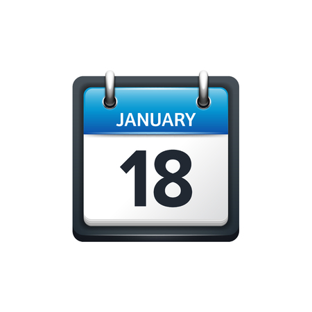 January 18. Calendar icon.Vector illustration,flat style.Month and date.Sunday,Monday,Tuesday,Wednesday,Thursday,Friday,Saturday.Week,weekend,red letter day. 2017,2018 year.Holidays.