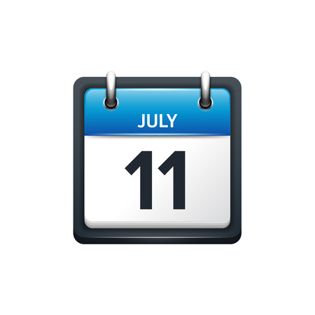 scheduler: July 11. Calendar icon.Vector illustration,flat style.Month and date.Sunday,Monday,Tuesday,Wednesday,Thursday,Friday,Saturday.Week,weekend,red letter day. 2017,2018 year.Holidays.