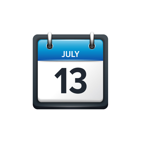 13: July 13. Calendar icon.Vector illustration,flat style.Month and date.Sunday,Monday,Tuesday,Wednesday,Thursday,Friday,Saturday.Week,weekend,red letter day. 2017,2018 year.Holidays.
