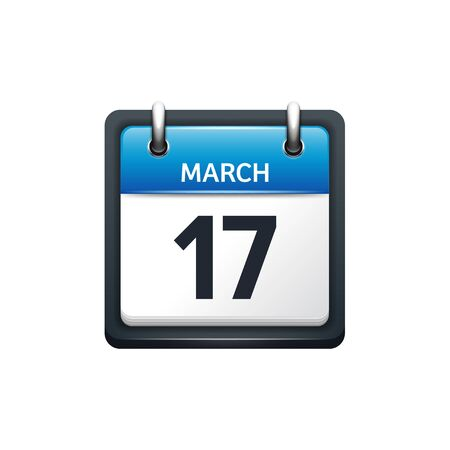 march 17: March 17. Calendar icon.Vector illustration,flat style.Month and date.Sunday,Monday,Tuesday,Wednesday,Thursday,Friday,Saturday.Week,weekend,red letter day. 2017,2018 year.Holidays.