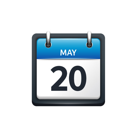 May 20. Calendar icon.Vector illustration,flat style.Month and date.Sunday,Monday,Tuesday,Wednesday,Thursday,Friday,Saturday.Week,weekend,red letter day. 2017,2018 year.Holidays. Illustration