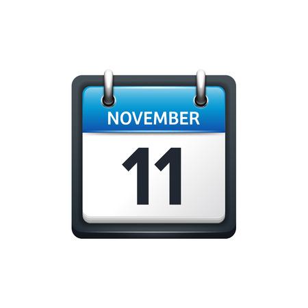 11 월 11 일입니다. 달력 아이콘입니다. 벡터 일러스트 레이 션, 평면 style.month 및 date.Sunday, 월요일, 화요일, 수요일, 목요일, 금요일, 토요일. 주말, 주말