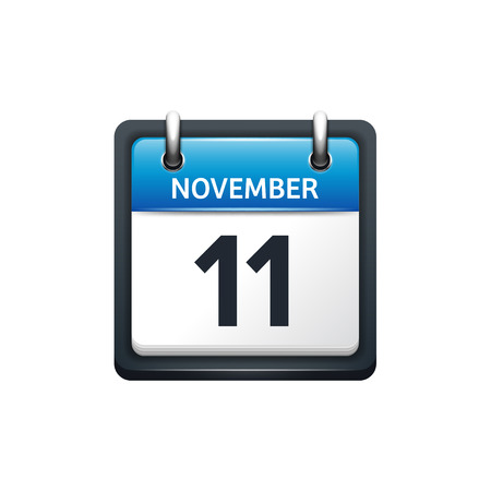 November 11. Calendar icon.Vector illustration,flat style.Month and date.Sunday,Monday,Tuesday,Wednesday,Thursday,Friday,Saturday.Week,weekend,red letter day. 2017,2018 year.Holidays.