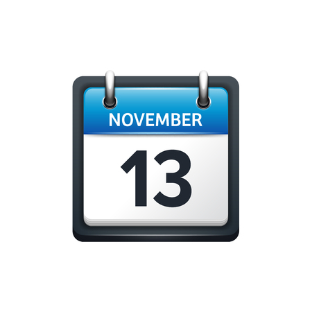 November 13. Calendar icon.Vector illustration,flat style.Month and date.Sunday,Monday,Tuesday,Wednesday,Thursday,Friday,Saturday.Week,weekend,red letter day. 2017,2018 year.Holidays.
