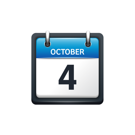 October 4. Calendar icon.Vector illustration,flat style.Month and date.Sunday,Monday,Tuesday,Wednesday,Thursday,Friday,Saturday.Week,weekend,red letter day. 2017,2018 year.Holidays. Illustration
