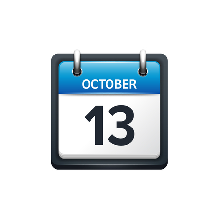 13: October 13. Calendar icon.Vector illustration,flat style.Month and date.Sunday,Monday,Tuesday,Wednesday,Thursday,Friday,Saturday.Week,weekend,red letter day. 2017,2018 year.Holidays.