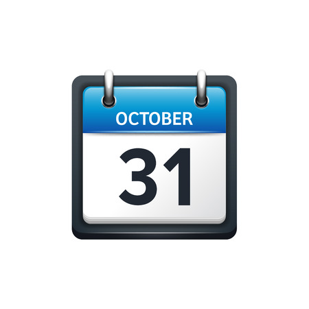 october 31: October 31. Calendar icon.Vector illustration,flat style.Month and date.Sunday,Monday,Tuesday,Wednesday,Thursday,Friday,Saturday.Week,weekend,red letter day. 2017,2018 year.Holidays. Illustration