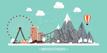 Vector illustration. Winter urban landscape. City with snow. Christmas and new year. Cityscape. Buildings.Mountaines, nature. Ferris wheel, park. Illustration