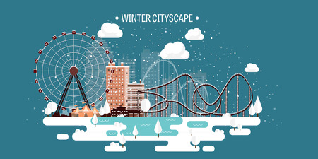 automobile door: Vector illustration. Winter urban landscape. City with snow. Christmas and new year. Cityscape. Buildings.Ferris wheel,park.