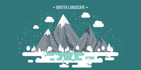 wild life: Mountains in Winter, Peak with Snow. Nature Landscape. Christmas Travel. Hiking and Camping. Wild life. Achievement, Exploring, Discovery. Flat Style. Illustration