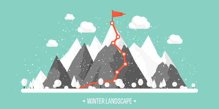 snow capped: Mountains in Winter, Peak with Snow. Nature Landscape. Christmas Travel. Hiking and Camping. Wild life. Achievement, Exploring, Discovery. Flat Style. Illustration