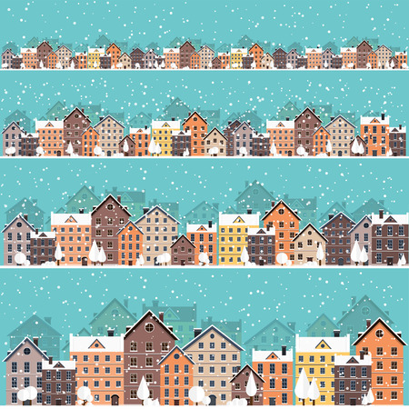 automobile door: Vector illustration. Winter urban landscape. City with snow. Christmas and new year. Cityscape. Buildings.