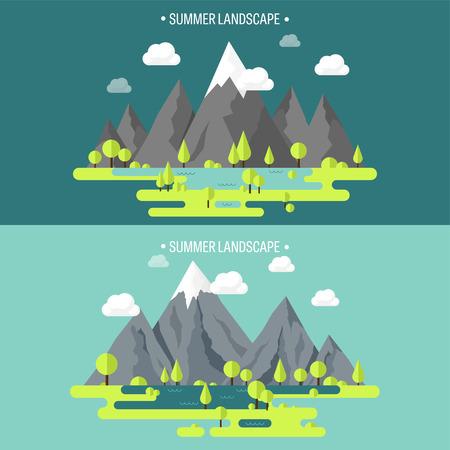 Mountain peak. Summer, spring landscape. Nature. Travel, hiking. Climbing. Wild park. Flat style.Environment protection, eco tourism.