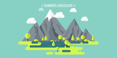 eco tourism: Mountain peak. Summer, spring landscape. Nature. Travel, hiking. Climbing. Wild park. Flat style.Environment protection, eco tourism.