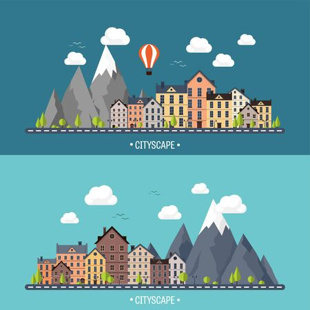 snow house: City in summer. Urban landscape with mountains. Town. Mountain peak,snow. House in village. Weather. Illustration