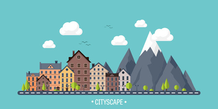 european alps: City in summer. Urban landscape with mountains. Town. Mountain peak,snow. House in village. Weather. Illustration