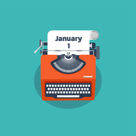 january 1: Typewriter in a flat style. Christmas wish list. Letter to Santa. New year. 2017. December holidays. January 1.