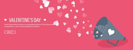 14 february: Vector illustration. Flat background with loudspeaker. Love, hearts. Valentines day. Be my valentine. 14 february. Message.