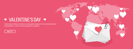14 february: Vector illustration. Flat background with envelope. Love, hearts. Valentines day. Be my valentine. 14 february. Message.