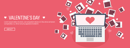 Vector illustration. Flat background with photos. Love, hearts. Valentines day. Be my valentine. 14 february. Vectores