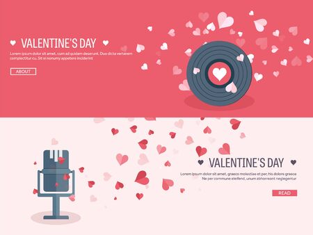 14 february: Vector illustration. Flat musical background with microphone and vinyl. Love, hearts. Valentines day. Be my valentine. 14 february. Illustration