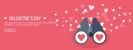 Vector illustration. Flat background with binoculars. Love, hearts. Valentines day. Be my valentine. 14 february. Vektoros illusztráció
