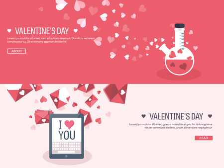 14 february: Vector illustration. Flat background with tablet and potion. Love, hearts. Valentines day. Be my valentine. 14 february.