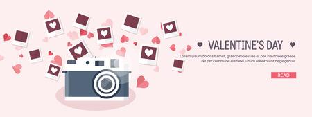 Vektor-Illustration. Flache Hintergrund mit Fotos. Liebesherzen. Valentinstag. Sei mein Valentinsschatz. 14. Februar. Vektorgrafik