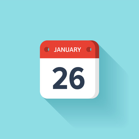 January 26. Isometric Calendar Icon With Shadow.Vector Illustration,Flat Style.Month and Date.Sunday,Monday,Tuesday,Wednesday,Thursday,Friday,Saturday.Week,Weekend,Red Letter Day. Holidays 2017.