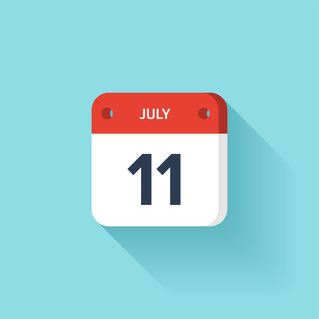 July 11. Isometric Calendar Icon With Shadow.Vector Illustration,Flat Style.Month and Date.Sunday,Monday,Tuesday,Wednesday,Thursday,Friday,Saturday.Week,Weekend,Red Letter Day. Holidays 2017.