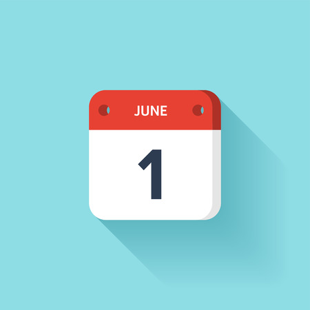 June 1. Isometric Calendar Icon With Shadow.Vector Illustration,Flat Style.Month and Date.Sunday,Monday,Tuesday,Wednesday,Thursday,Friday,Saturday.Week,Weekend,Red Letter Day. Holidays 2017.