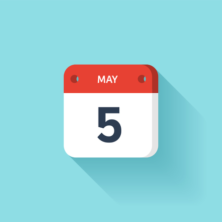 May 5. Isometric Calendar Icon With Shadow.Vector Illustration,Flat Style.Month and Date.Sunday,Monday,Tuesday,Wednesday,Thursday,Friday,Saturday.Week,Weekend,Red Letter Day. Holidays 2017. Illustration