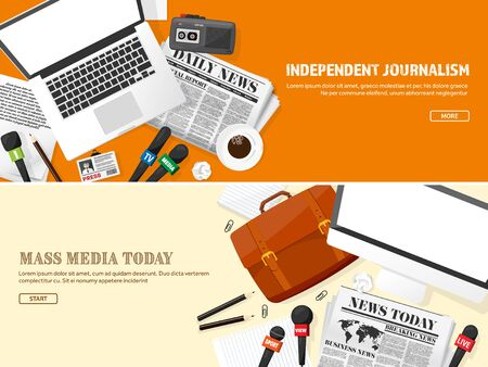 internet radio: Mass media background in a flat style.Press conference with correspondent and reporter.Broadcasting.Multimedia news,newspaper.Tv show. Internet radio, television. Microphone.