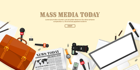 Mass media background in a flat style.Press conference with correspondent and reporter.Broadcasting.Multimedia news,newspaper.Tv show. Internet radio, television. Microphone. Stock Vector - 70625655