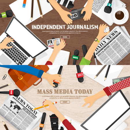 Mass media background in a flat style.Press conference with correspondent and reporter.Broadcasting.Multimedia news,newspaper.Tv show. Internet radio, television. Microphone.