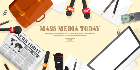 reportage: Mass media background in a flat style.Press conference with correspondent and reporter.Broadcasting.Multimedia news,newspaper.Tv show. Internet radio, television. Microphone.