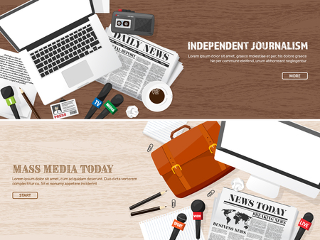 popularity: Mass media background in a flat style.Press conference with correspondent and reporter.Broadcasting.Multimedia news,newspaper.Tv show. Internet radio, television. Microphone.