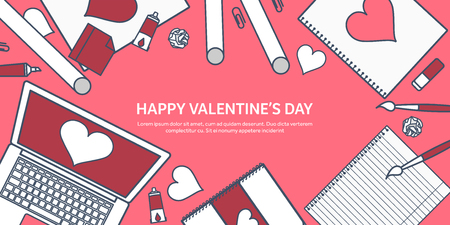 Love and heart. Lined vector illustration. Flat background with laptop. Hearts. Valentines day. Be my valentine. 14 february. Message. Illustration