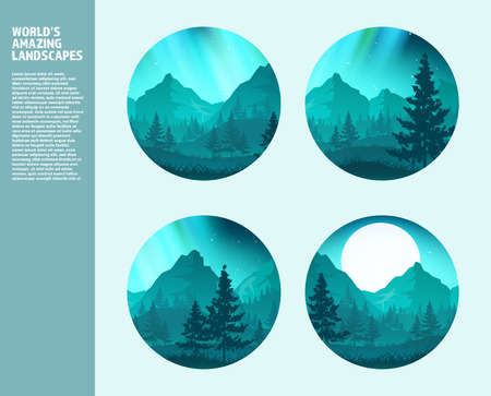 double exposure: Mountains and forest. Wild nature landscape. Travel and adventure.Panorama. Into the woods. Horizon line.Trees,fogfog.