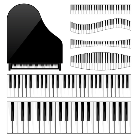 Piano with keyboard,key. Musical background. Melody. Instrument. Set. Sound. Classical instrument. Ilustração