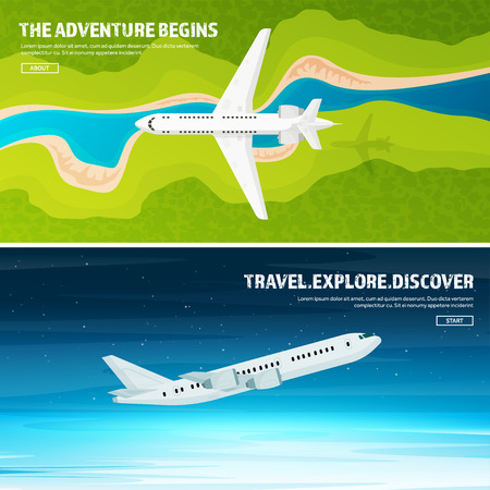 Plane. Travel and tourism. Airplane, aviation. Summer holidays, vacation.Landing. Flight, air travelling. Sky, aerial background. Journey. Illustration