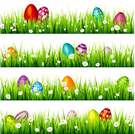 緑の芝生の上のイースターエッグ。April.Flowers.Banner 季節の休日。