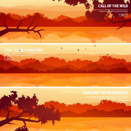 森と湖、川と山。木。水平線。ベクトルの風景です。パノラマ。旅と冒険。Nature.Wood. の野生動物。松の木。