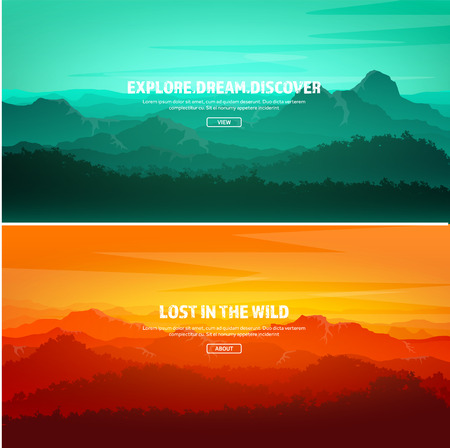 Mountains and forest. Wild nature landscape. Travel and adventure.Panorama. Into the woods. Horizon line.Trees,fog,wood.Backgrounds se Illustration