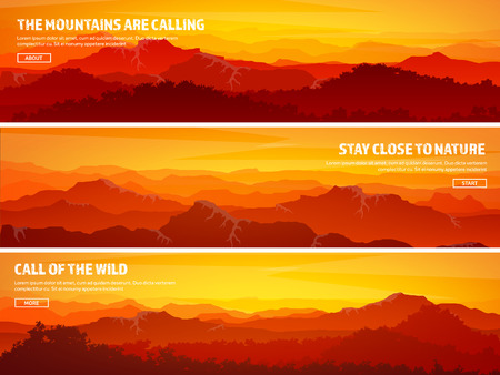 Mountains and forest. Wild nature landscape. Travel and adventure.Panorama. Into the woods. Horizon line.Trees,fog,wood.Backgrounds se Ilustrace