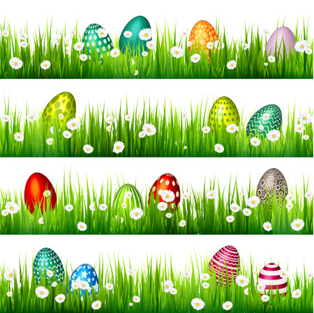 Easter egg on the green grass. Seasonal holidays in April.Flowers.Banner. Ilustrace