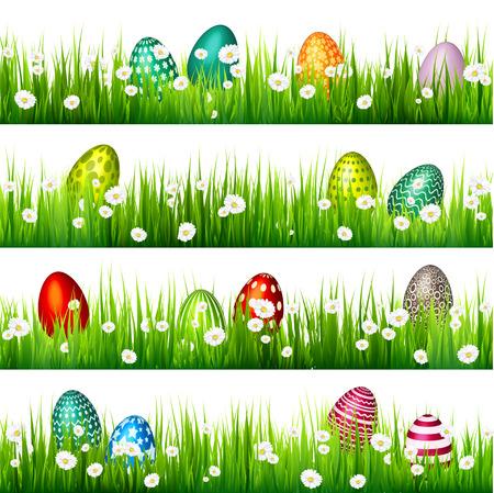 Easter egg on the green grass. Seasonal holidays in April.Flowers.Banner. Illustration