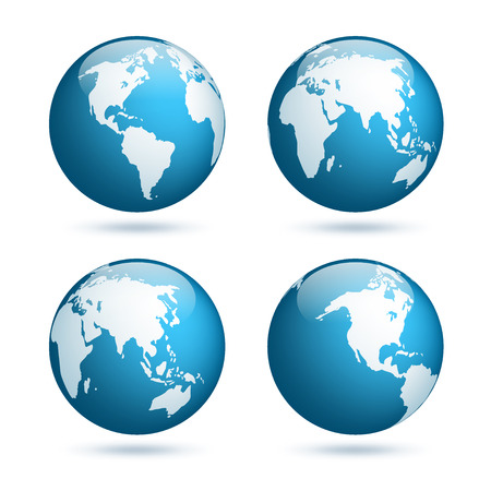 Earth globe. Wereldkaart ingesteld. Planeet met continenten. Azië, Australië, Europa, Noord-Amerika en Zuid-Amerika.