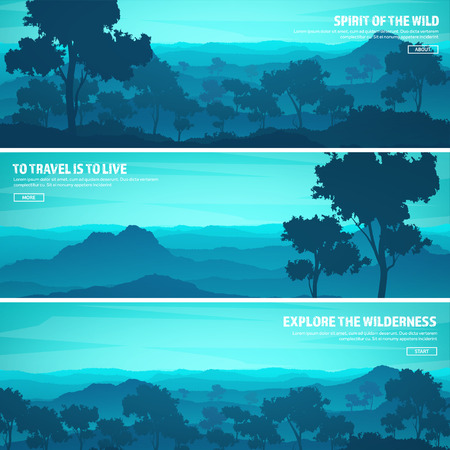 Mountains and forest. Wild nature landscape. Travel and adventure.Panorama. Into the woods. Horizon line.Trees,fog,wood.Backgrounds se Иллюстрация