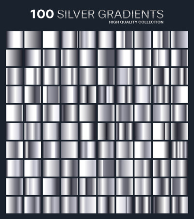 Silver gradient,pattern,template.Set of colors for design,collection of high quality gradients.Metallic texture,shiny background.Pure metal.Suitable for text ,mockup,banner, ribbon or ornament. Illustration